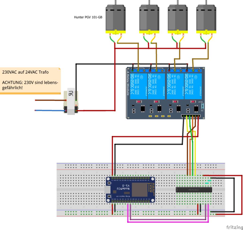 Schaltplan mit Multiplexer, für 4 Ventile